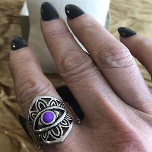 paparazzi Jewelry - Evil eye ring Paparrazzi silver purple stretch